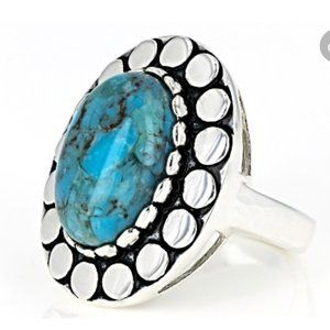 Southwest Turquoise Ring in Sterling Silver Size 6